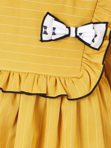 Baby Girl Striped Ruffle Bow Front Smock Dress