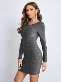 Women Backless Glitter Bodycon Dress