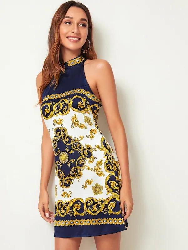 Women Baroque Print Tie Back Halter Neck Dress