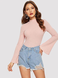 Women Bell Sleeve Crop Tee
