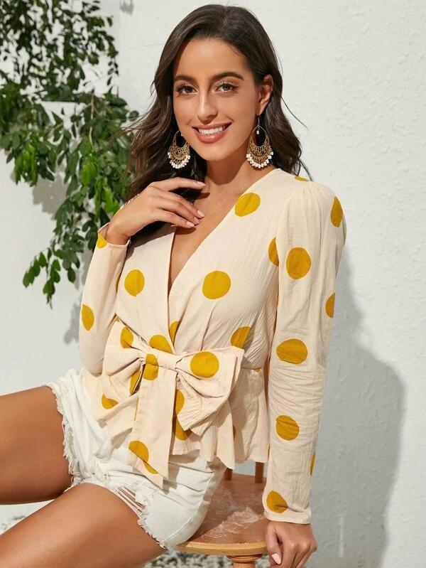 Women Big Bow Polka Dot Blouse
