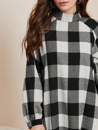 Women Bishop Sleeve Buffalo Plaid Smock Dress
