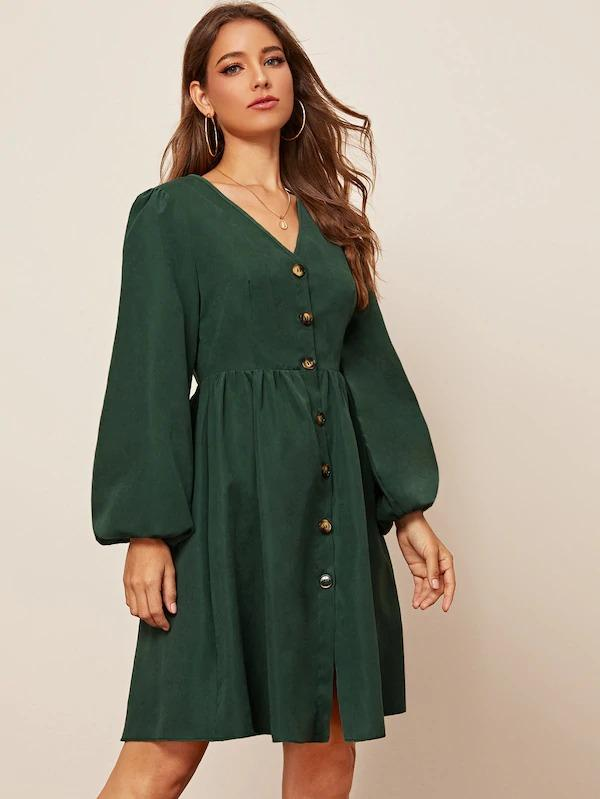 Women Bishop Sleeve Button Through Tea Dress