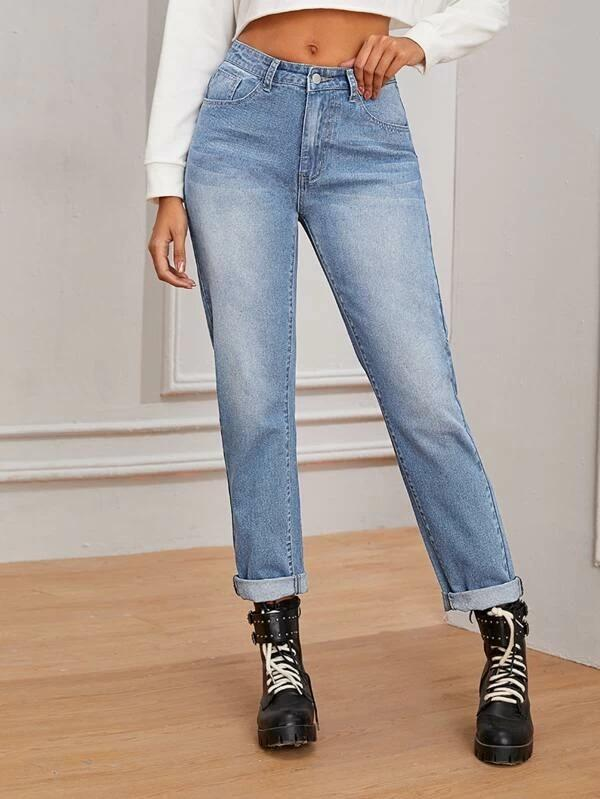 Women Bleach Wash Boyfriend Jeans