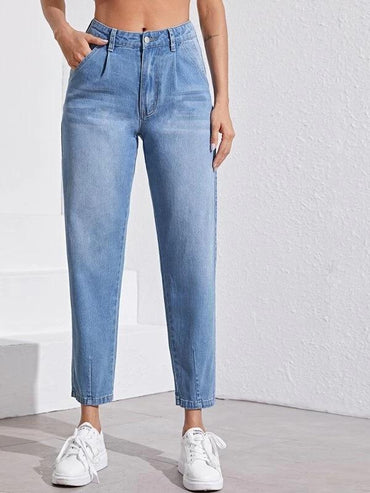 Women Bleach Wash Mom Jeans Without Belt