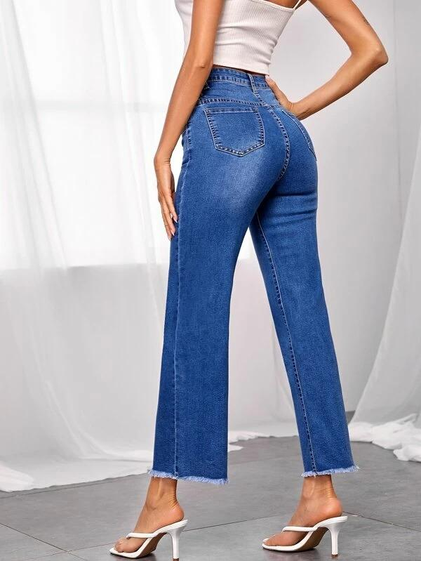 Women Bleach Wash Raw Hem Straight Leg Jeans