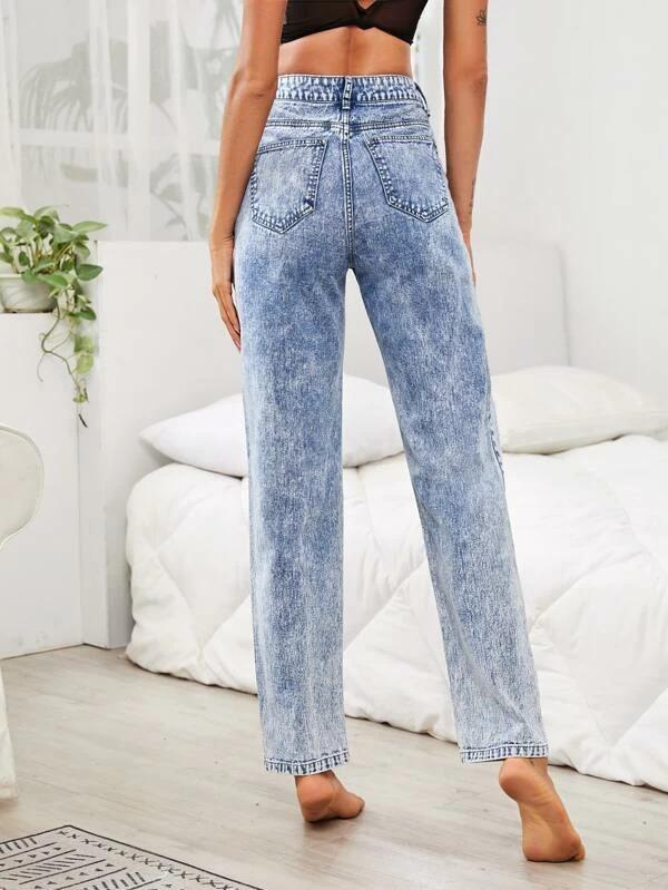 Women Bleach Wash Ripped Jeans