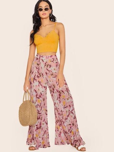 Women Botanical Print High Waist Pleated Wide Leg Pants