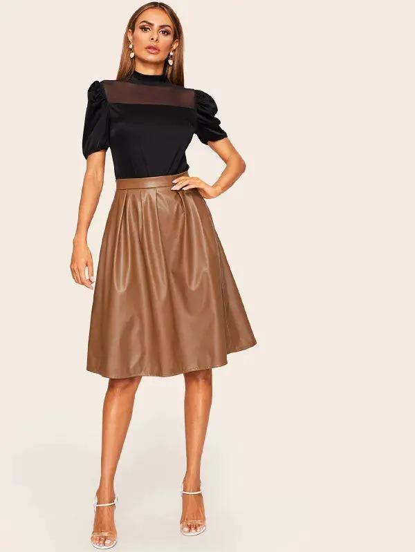 Women Boxed Pleated PU Leather Skirt
