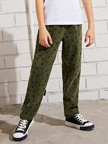 Boys Allover Number Cord Pants