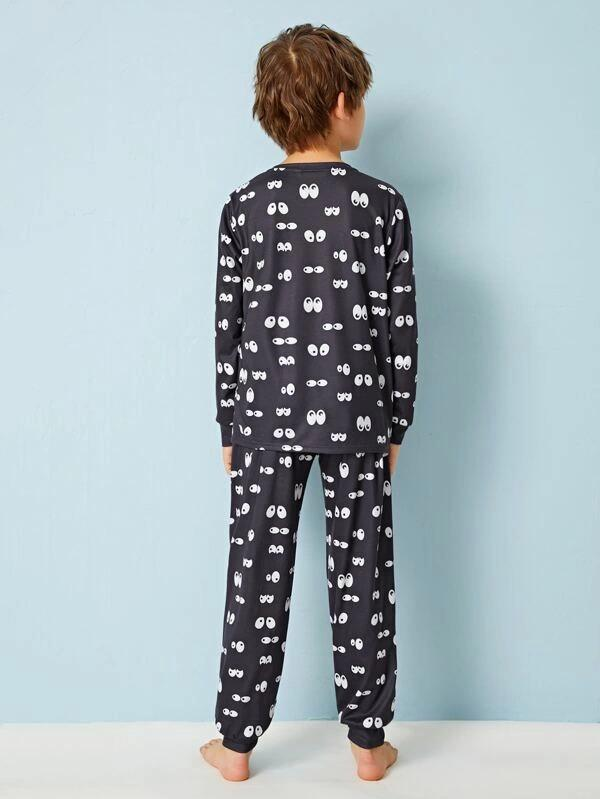 Boys Cartoon And Letter Graphic Top & Pants PJ Set