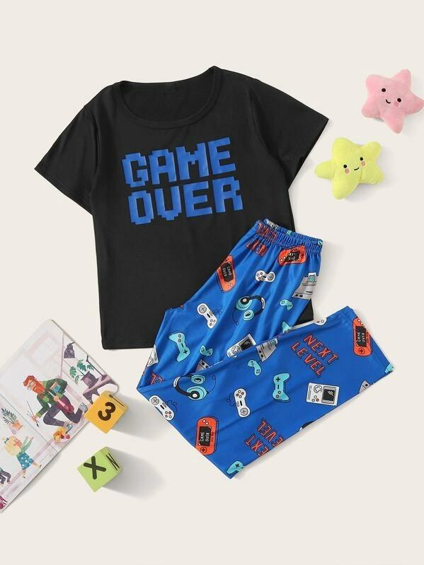 Boys Cartoon & Letter Print Pajama Set