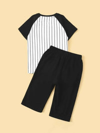 Boys Color-Block Striped Tee & Shorts Set