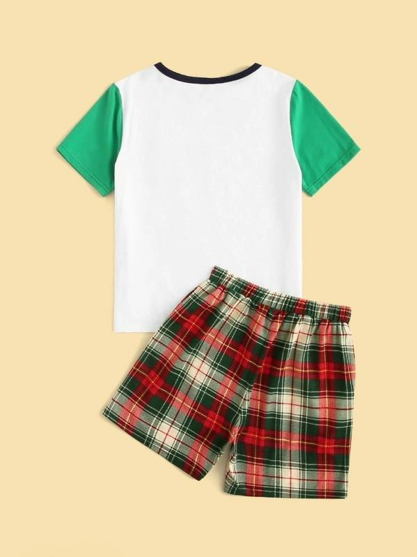 Boys Contrast Neck Pocket Patched Tee And Shorts PJ Set