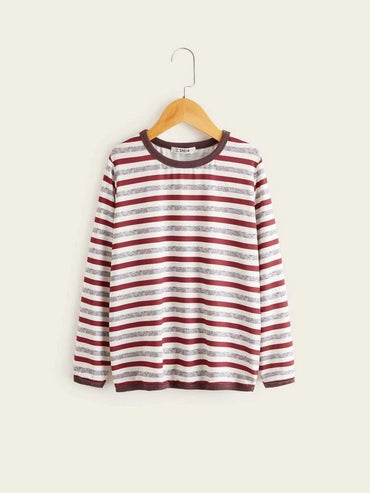Boys Contrast Trim Striped Tee