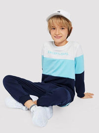Boys Cut And Sew Panel Sweatshirt With Pants