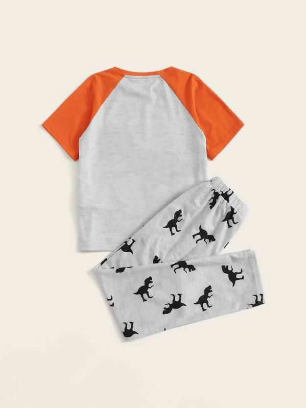 Boys Dinosaur Print Raglan Sleeve Top & Pants PJ Set