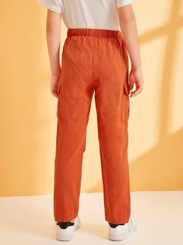 Boys Drawstring Waist Flap Pocket Pants