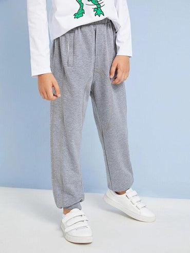 Boys Drawstring Waist Heather Grey Sweatpants