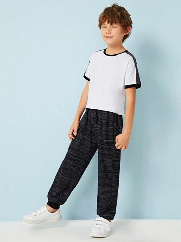Boys Drawstring Waist Space Dye Pants