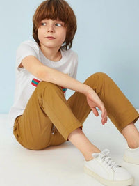 Boys Drawstring Waist Straight Leg Pants