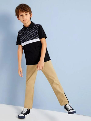 Boys Drawstring Waist Zipper Hem Pants
