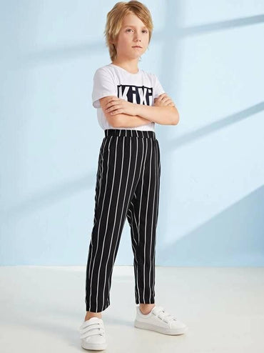 Boys Elastic Waist Slant Pocket Striped Pants