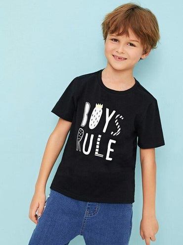 Boys Fruit And Slogan Print Tee
