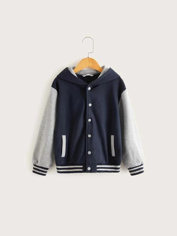 Boys Heather Grey Panel Striped Trim Button Up Jacket