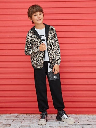 Boys Leopard Print Double Face Reversible Jacket
