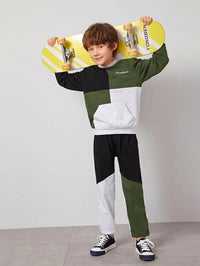 Boys Letter Embroidered Colorblock Hoodie & Joggers Set