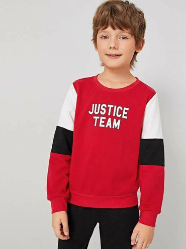 Boys Letter Graphic Cut-And-Sew Pullover