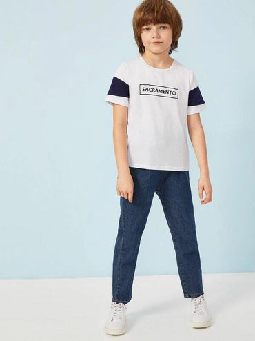 Boys Letter Print Color-Block Tee