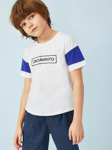 Boys Letter Print Cut-And-Sew T-Shirt
