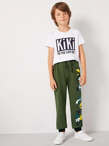 Boys Letter Print Drawstring Waist Sweatpants