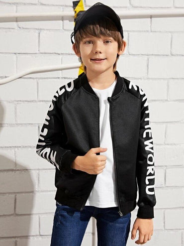 Boys Letter Print Raglan Sleeve Zipper Satin Jacket