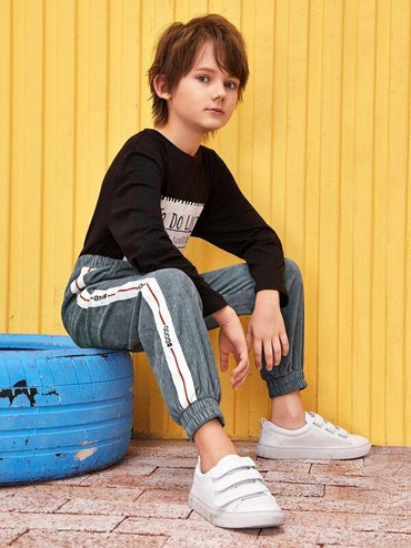 Boys Letter Tape Side Corduroy Pants