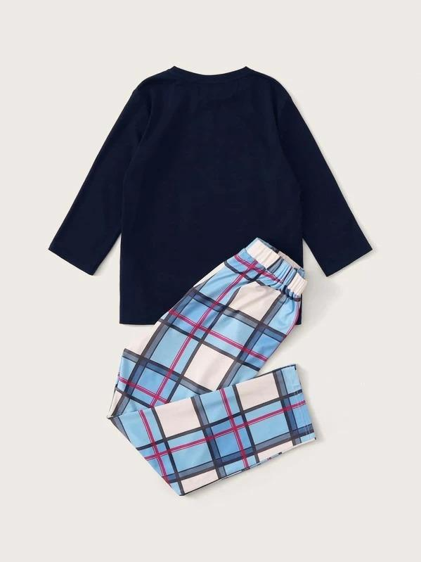 Boys Mixed Print Top & Plaid Pants PJ Set