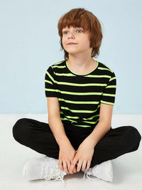 Boys Neon Stripe Colorblock Tee