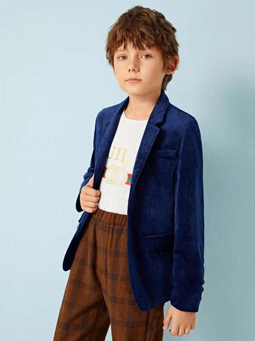 Boys Notch Collar Single Breasted Velvet Blazer