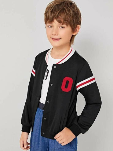 Boys Patched Detail Single Breasted Striped Bomber Jacket