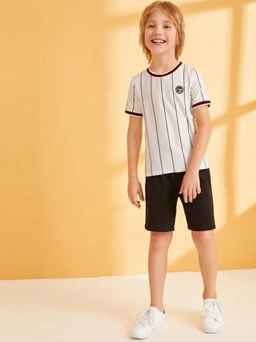 Boys Patched Detail Striped Tape Trim Top