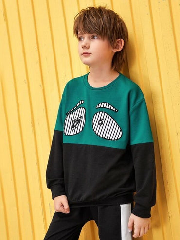 Boys Patched Detail Two Tone Pullover