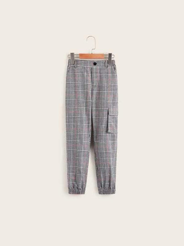 Boys Plaid Button Fly Pocket Side Pants