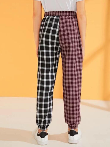 Boys Plaid Colorblock Carrot Pants