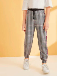 Boys Plaid Print Letter Tape Tapered Pants