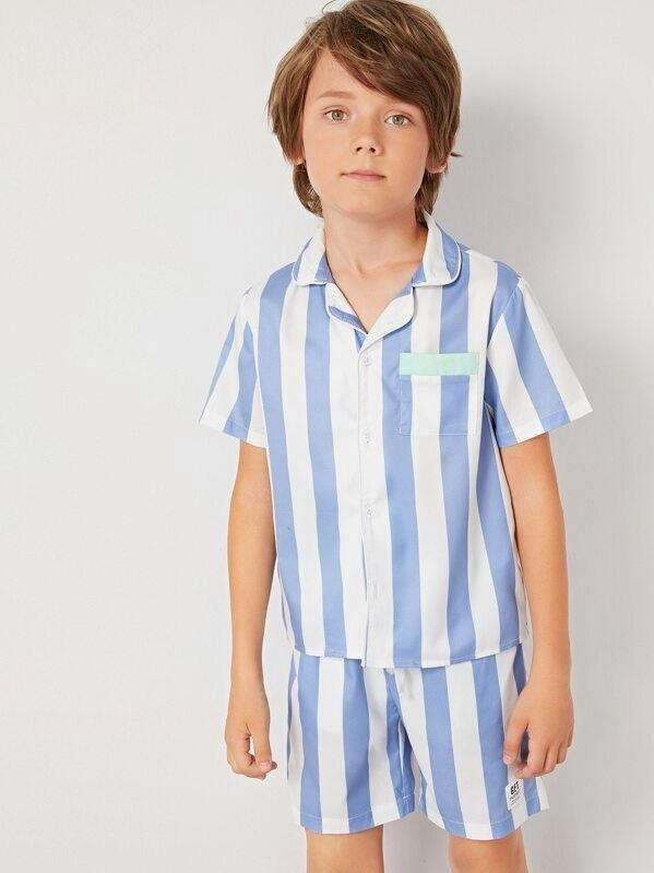 Boys Pocket Patched Striped Shirt And Shorts PJ Set