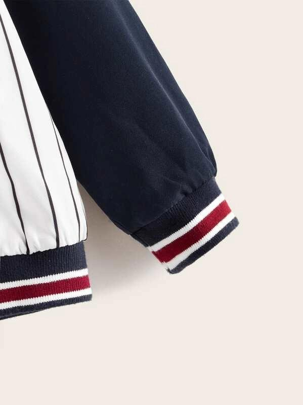 Boys Raglan Sleeve Letter & Striped Print Jacket
