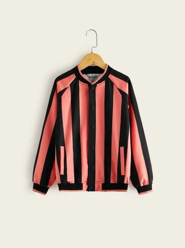 Boys Raglan Sleeve Striped Bomber Jacket