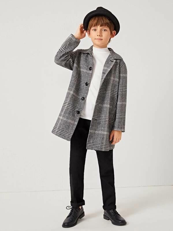 Boys Single Breasted Plaid Coat